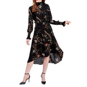 NANETTE LEPORE mock-Neck FLORAL Midi DRESS 6 black